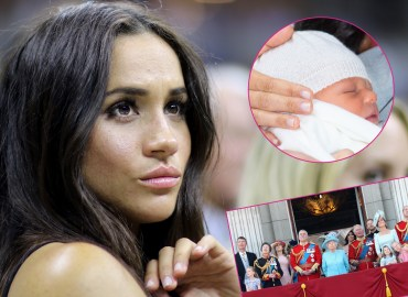 Meghan Markle attends a sporting event. Inset upper left corner, Archie. Inset bottom, the royal family.
