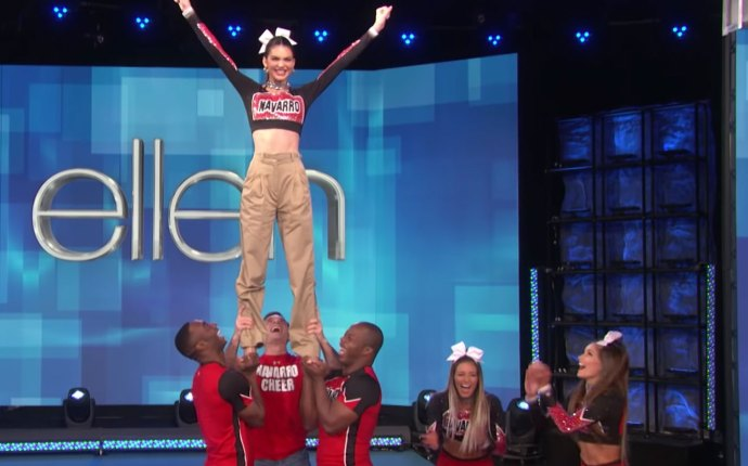 Kendall Jenner and the Navarro cheerleaders