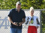 Gwen Stefani and Blake Shelton run into Gavin Rossdale at Kingston's Football game.