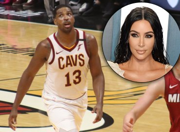 Tristan Thompson playing basketball; Kim Kardashian
