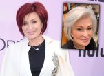 Sharon Osbourne with red and white hair