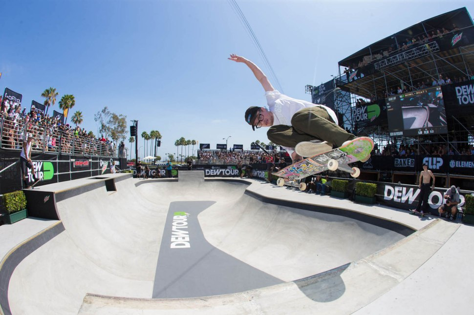 Ben Raybourn keeping skateboarding close to its roots at Dew Tour, bringing old school tricks to the modern-day contest scene. Photo Kanights