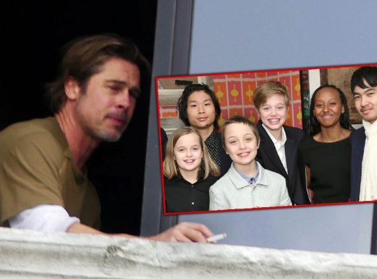 Brad Pitt Smoking Outof Window and Inset of His Kids