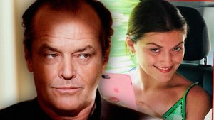 Jack Nicholson with Serious Face Looking Right at Inset of Tessa Gourin