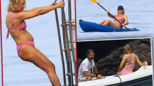 Kate Hudson in Pink Bikini Climbing Ladder onto Boat From Water, Kayaking, and On Raft With Husband
