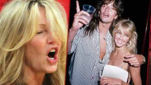 Heather Locklear Screaming With Inset of Tommy Lee and Heather Locklear Drinking From 1987