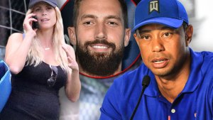 Pregnant Elin Nordegen in Gym Wear, Inset Circle of Jordan Cameron overlapped by Tiger Woods in Blue Golf Shirt and Cap