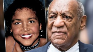 Inset Of Ensa Cosby, Bill Cosby Wearing Gray Pinstripe Suit, White Shirt Blue And Brown Patterned Tie