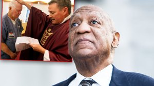 Bill Cosby Wearing Blue Suit, Whte Shirt and Black and White Tie Lookinf Skyward, Inset Preacher Giving Prayer To Prison Inmate
