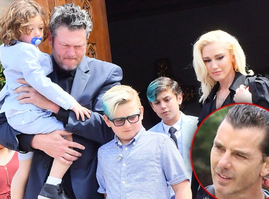 Blake Shelton Wearing a Suit WithGwen Stefani Wearing A Black Trent Coat Leving Church With Her Kids, Inset Headshot Gavin Rossdale