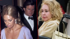 Inset of Joan Hennedy Wearing Lavendar Gown and Ted Kennedy Wearing Tuxido In 1971, Joan Kennedy in Wheelchair in 2015 Wearing Pale Yellow Coat and Pale Yellow Purse