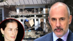 Inset of Anette Roque Looking Right At Matt Lauer With Their Hamptons Home in Background