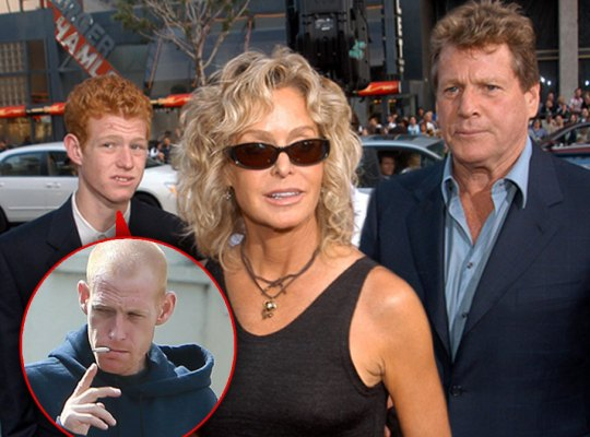 Inset of Redmond O'Neal Smoking, Eariler Redmond, Farrah Fawcett and Ryan O'Neal in