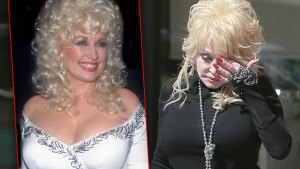 Smiling Dolly Parton In 1984 Wearing White Satin Dress EmbroideredWith Silver Trim, Dolly Parton Looking Down In 2015 Wearing Black Turtleneck