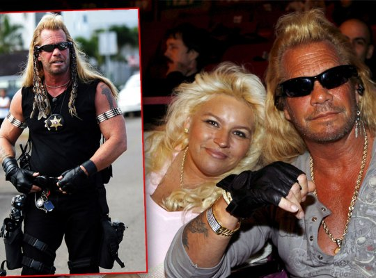 Inset of Duane Chapman Wearing Sunglasses And All Black Bounty Hunting Gear, Beth Chapman Wearing Pink Top With Her Head On the Shoulder of Her Husband Duane Chapman Whearing Grey Snap Button T-Shirt