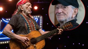 Willie Nelson Playing Guitar Insetheadshot Willie Wearing Baseball Cap
