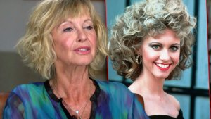 Olivia Newton-John Wearing Blue Multi toned Top on ABC, Inset Olivia as Sandy From the Film Grease