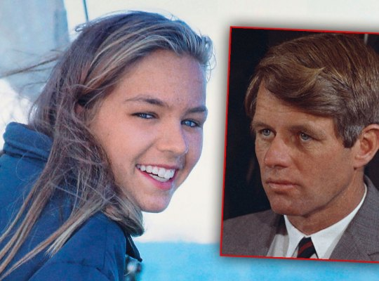 Saoirse Kenney Hill Wearign Blue Sweatshirt While On a Saiboat, Inset of Robert F. Kennedy Wearing Gray Suit