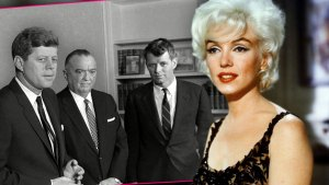 Black and White Photo Inset Of JFK, J Edgar Hoover and RFK, Color Photo Of Marilyn Monroe Wearing Black Evening Gown Black