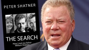 Surprised William Shatner Wearing Charcoal Gray Pin-Striped Suit, White Shirt and Lavendar Patterned Tie Inset Book Titled The Search: How I met my father William Shatner By Peter Shatner