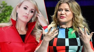 On Left Carrie Underwood Wearing Red aincoat, On Right Kelly Clarkson Wearing Black, Blue, Red Green Blcok Dress