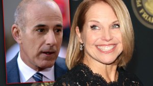 Inset of Matt Lauer In Blue Suit looking Right, A Smiling Katie Couric Wearing Black Lace Dress Looking Left