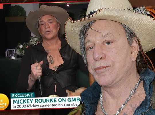 Inset of Interview withMickey Rourke Wearing Cowboy Hat