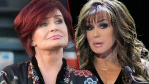Sharon Osbourne With Head Tilted Up Wearing Chinese Pattern Top, Marie Osmond Looking Nervous Wearing Black V-Neck Top