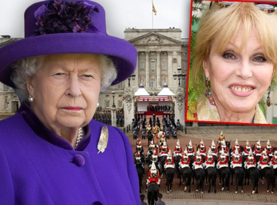 Queen Elizabeth II Wearing Purple Hat and Suit ,Buckingham Palace, Joanna Lumley