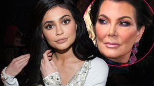 Straight Faced Kylie Jenner Wearing White Beaded Dress, Inset Closeup Of Kris Jenner