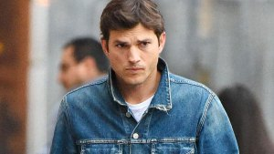 Worried Looking Ashton Kutcher Wearing Denim Jacket