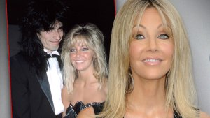 Inset Tommy Lee With Heather Locklear, Heather Locklear Sort of Smiling Weraing Black Knit Tank Dress