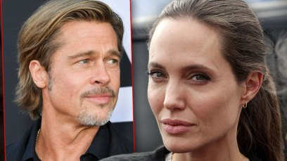 Inset Brad Pitt Looking Right, Angelina Jolie Looking Directly At Camera
