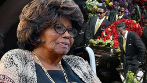 Katherine Jackson Sitting In Wheelchair Inset Michael Jackson Coffin