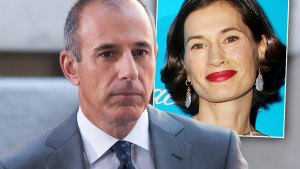Matt Lauer In Gray Suit, Inset Closeup Of His Wife Annette Roque