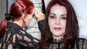 Priscilla Presley Wearing Black Lace Shirt With Surgical Mask over Face, Priscilla Presley Wearing Black Lace Dress