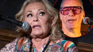 Roseanne Barr Wearing Multicolor Patterned Top Looking Right at Inset Of Andrew Dice Clay