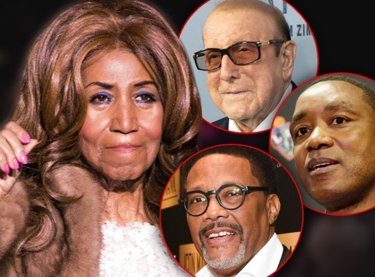 Aretha Franklin Wearing Fur Coat and Sequined Gown, Insets of Clive Davis, Isiah Thomas and Greg Mathis