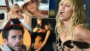 Insets of Liam Hemsworth, Miley and Kaitlynn Carter, Miley and Cody Simpson, Miley Cyrus Screaming and Grabbing Chest