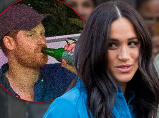 Inset Prince Harry Drinking From A Beer Bottle, Meghan Markle Wearing Blue Coat Dress Looking Left At Inset