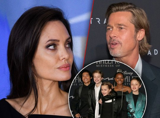 Photo Split Of Angelina Jolie And Brad Pitt, Inset Kids Jolie-Pitt