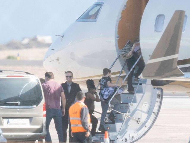 Angelina Jolie and Brad Pitt's children Shiloh Jolie-Pitt, Vivienne Marcheline Jolie-Pitt, Zahara Jolie-Pitt and Knox Leon Jolie-Pitt leave Fuerteventura with their nannies by private jet