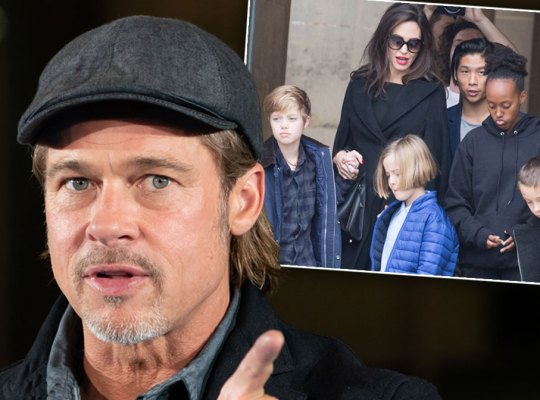 Brad Pitt Inset Angelina Jolie and Kids