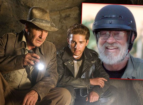 Harrison Ford and Shia LaBeouf in INDIANA JONES AND THE KINGDOM OF THE CRYSTAL SKULL, Inset Shia's Dad Jeffrey LaBeouf