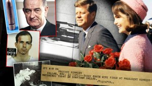 Photo Gollage of JBJ,Lee Harvey Oswald, JFK and Jackie Kennedy, Teletype, Bullet