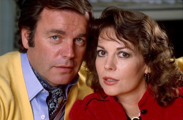 Robert Wagner Wearing Yellow Sweater, Blue Shirt and Ascot With Natalie Portman Wearing Red Jacke, Black Top, Chunky Necklace