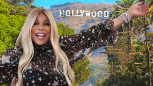 Wendy Williams Wearing A Blue And White Star Dess, Hollywood Hills and Sign in the Background
