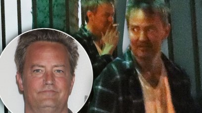 INset of Matthew Perry, Matthew Perry Standing and Smoking