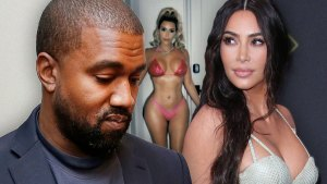 Kanye West Looking Down, Inset of Kim Kardashian In Bikini, Kim Kardashian Looking Left
