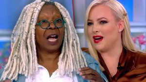 Photo Split Of Whoopi Goldberg Screaming With Meghan McCain Screaming